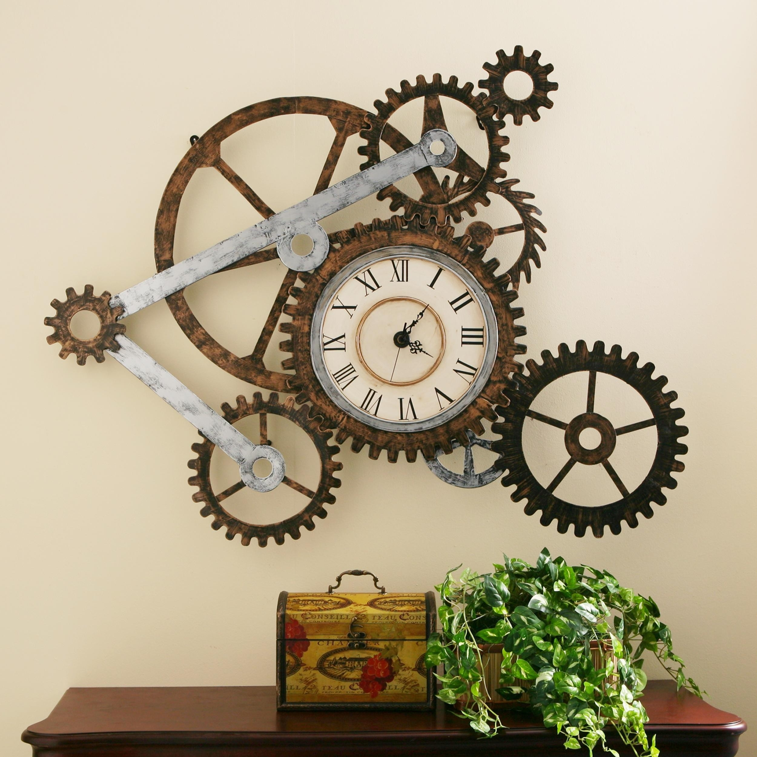 Modern Large Wood /& Silver Metal Skeleton Cut Out Roman Numeral Hall Wall Clock