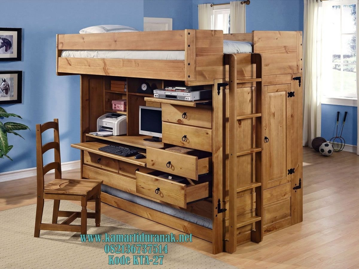 Picture of: Wood Bunk Bed With Desk Underneath Ideas On Foter